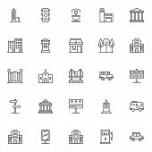 City Buildings Outline Icons Set. Linear Style Symbols Collection, Line Signs Pack. Vector Graphics. poster