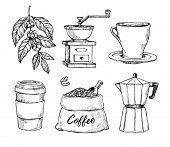 Natural Grain Coffee Vintage Hand Drawn Illustration Set. Cup On Saucer, Coffee Grinder, Coffee Bean poster