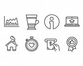 Set Of Heartbeat Timer, Double Latte And Atm Service Icons. Trade Chart, Website Education And Posit poster