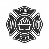 Fire Department Badge Glyph Icon. Firefighting Emblem With Helmet, Ladder And Extinguisher. Silhouet poster