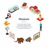 Museum Exhibits Galleries Banner Card Circle Isometric View Include Of Ticket, Sculpture, Statue, Am poster