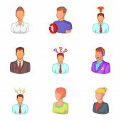 Personal Face Icons Set. Cartoon Set Of 9 Personal Face Vector Icons For Web Isolated On White Backg poster