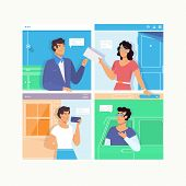 People Talking Dialog Bubble Speech.chat Messages Notification. Man Person Chatting On With Woman Is poster