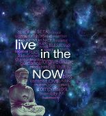 Live In The Now Word Cloud - Seated Meditating Buddha Figure With Warm Glow Against A Cosmic Night S poster