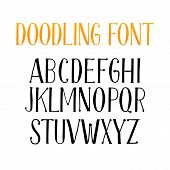 Doodling Alphabet Set Or Typeset Of Isolated Letters. Typography Font Or Doodle Abc Characters For W poster