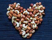 Nut Heart On Dark Background. Almond, Cashew, Hazelnut Nuts. Organic Food Rustic Banner Template. Ta poster