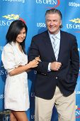 FLUSHING, NY - AUGUST 29: Alec Baldwin and Hilaria Thomas attend 2011 US Open opening night ceremoni