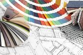 image of interior sketch  - palette of colors designs for interior works - JPG