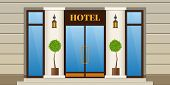 Modern City Facade Of Hotel Building. Panel Facade Of Hotel Building With Window And Door. Exterior  poster