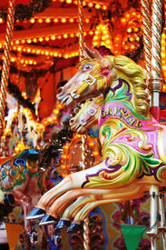 image of carousel horse  - Detail of a carousel horse at the amusement park - JPG