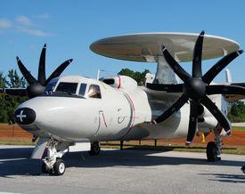 stock photo of awacs  - Propeller airplane on display at Florida airshow - JPG
