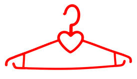 picture of clothes hanger  - A plastic hanger for clothes with a silhouette of heart a subject on a white background - JPG