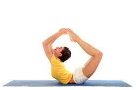 picture of yoga mat  - Side profile of a woman doing yoga - JPG