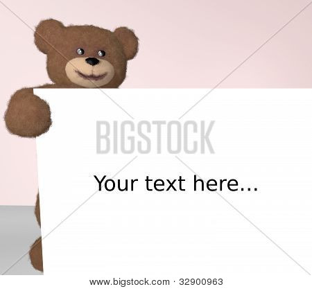 Teddy Bear With Billboard