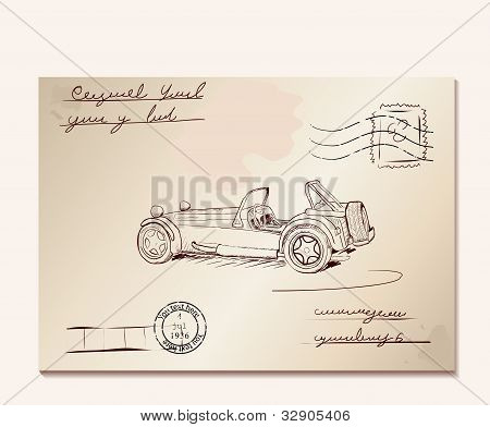 Vintage letter with old car