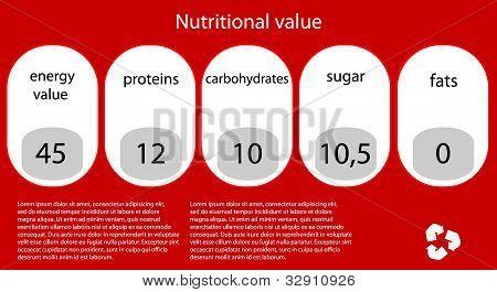Vector Nutritional Value. Eps10 Illustration