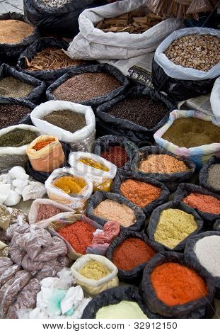 Colorful Spices Displayed In Outdoor Market