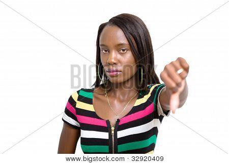 Thumbs Down Woman