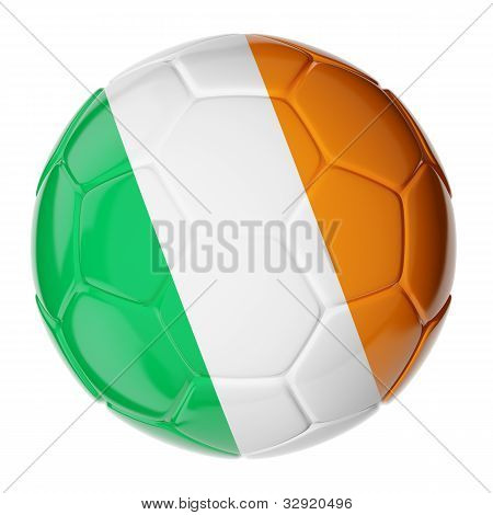 Soccer ball. Flag of Ireland