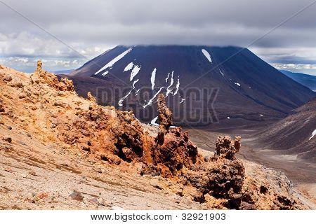 Lava sculptures and volcanoe Mount Ngauruhoe, NZ