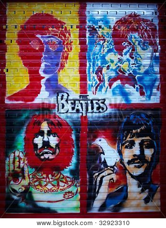 A parede do Graffiti de Beatles