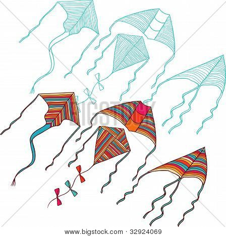 Vector kites for your design. Hand drawn illustration.