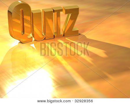 3D Quiz Gold Text