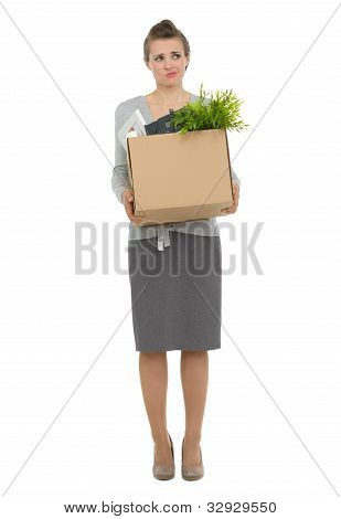 Concerned Woman Employee Holding Box With Personal Items