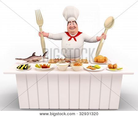 Happy Chef standing with spoons