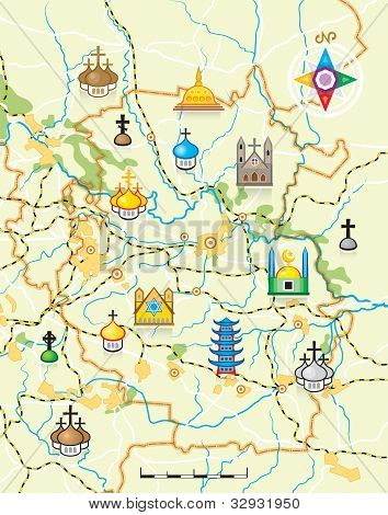 Vector Map of The Country with Religious Landmarks