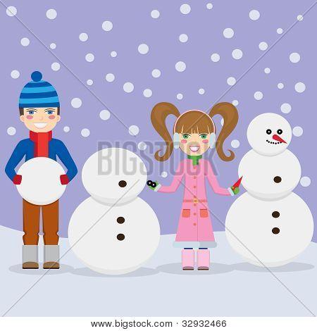 Children Making Snowmen.
