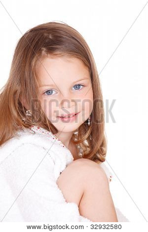 Isolated portrait of a beautiful blond little girl