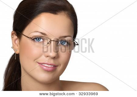 Cute Young Woman With Glasses