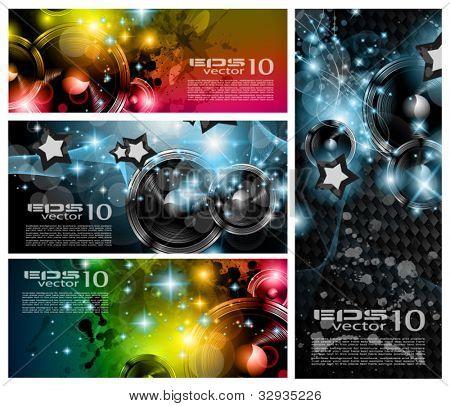 Club de música banderas conjunto para evento internacional de danza de disco con un montón de elementos de diseño. Ideal para
