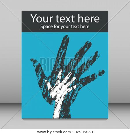 Textured overlapping hands leaflet or flier design.