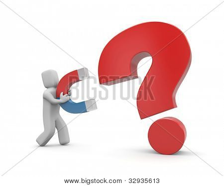 Person with magnet. Magnet for question. Image contain clipping path