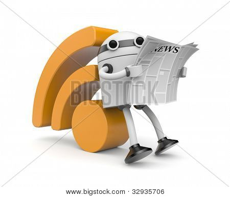 Robot reading RSS news. Image contain clipping path