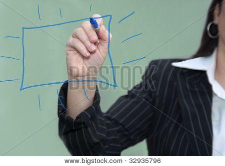 Businesswoman Blue Drawn Chart