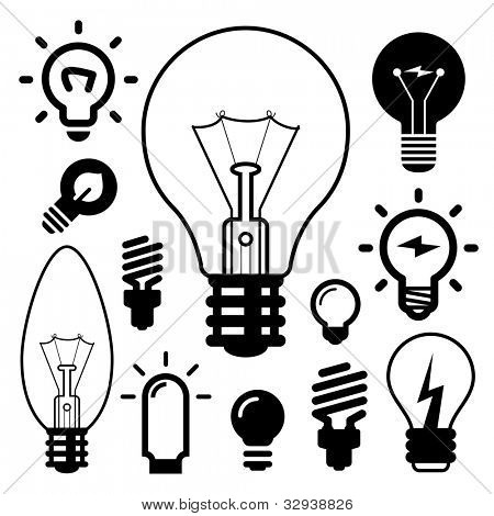 set of light bulbs icons