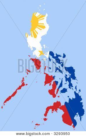Mapa de Filipinas con la bandera nacional