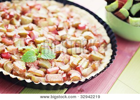 delicious rhubarb tart with sugar - sweet food