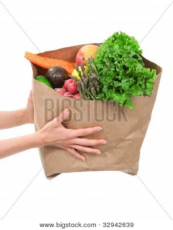 Hands Holding A Shopping Bag Full Of Groceries