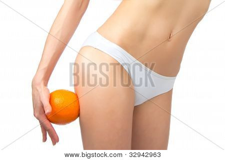Hip, Legs, Abdomen And Orange In Hand Cellulite Liposuction