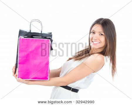 Woman With Shopping Bags Buying Presents