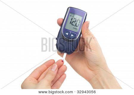 Diabetic Patient Measuring Glucose Level Blood