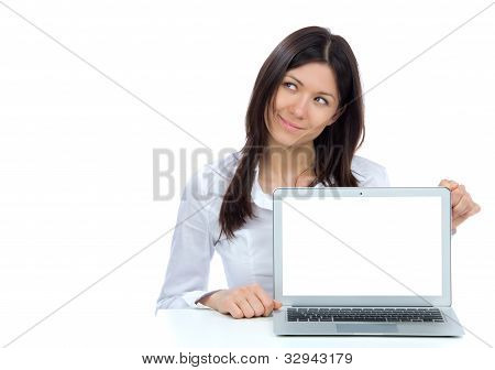 Business Woman With New Modern Popular Laptop Keyboard