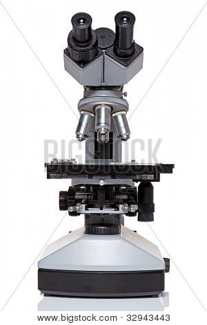 Photo of a professional ocular laboratory microscope with stereo eyepiece isolated on a white background. This is a genuine piece of equipment and the type that would be used in a real lab.