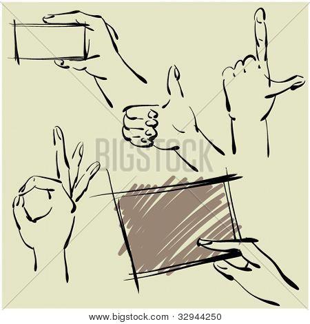 art sketching set of vector hands  symbols