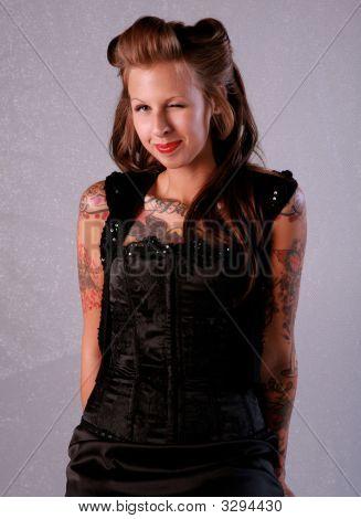 Sexy Winking Rockabilly Girl