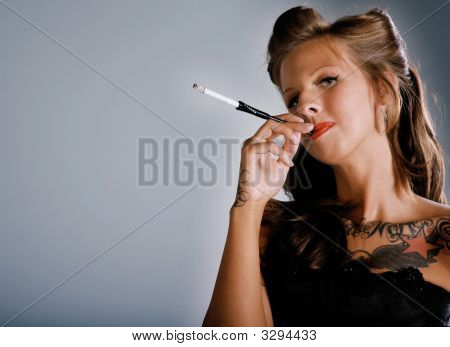 Smoking Rockabilly Girl